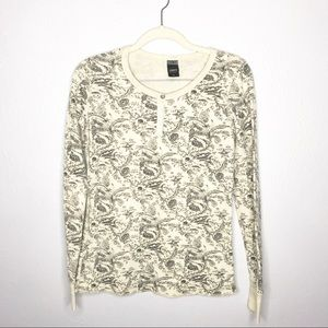 OBEY Waffle Knit Long Sleeve Patterned Top